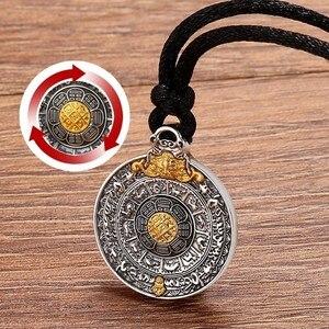 Image 3 - ZABRA prawdziwe 24k złoto i 999 Sterling Silver Buddhim wisiorek mężczyźni kobiety dobre znaczenie prezent HipHop człowiek Vintatge naszyjnik biżuteria