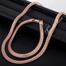 Trendsmax JEWELRY SET 6mm Braided Foxtail Rose Gold Filled Necklace Bracelet Set Womens Girls Boys Mens Chain Free Shipping GS83(Hong Kong,China)