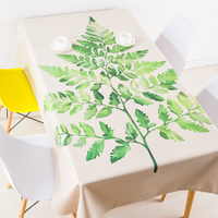 Thicken nordic linen tablecloth table cloth green plant leaf simple modern party hotel coffee home decoration table cover gift