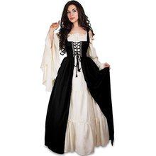 Rosetic Femmes Robe Robes Renaissance Long Flare Manches Bandage Corset Médiéval  Robes Vintage Carré Collier Partie Club f97b373ae