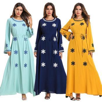 6aaae01be10 Women Muslim Abaya Long Dress Embroidery Dubai Loose Casual Maxi Robe  Fashion O-neck Loose Ramadan Gown Arab Jilbab Ankle-length