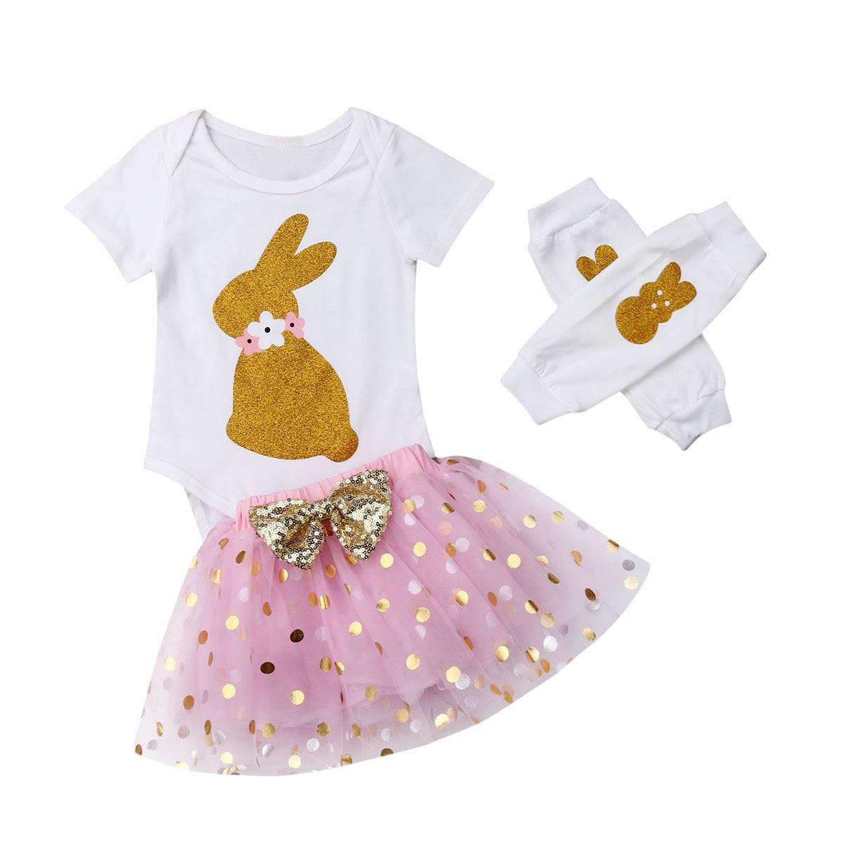 0-24 M Leuke Pasgeboren Baby Meisje Korte Mouwen Bunny Katoen Romper Tops Polka Dot Tutu Rok 2 Stuks Outfits Prinses Meisjes Kleding Set Hoge Kwaliteit En Goedkoop