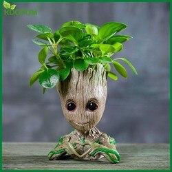 Jardim flor plantador pote groot flowerpot vaso de flores plantador figuras de ação homem árvore groot figura modelo bonito brinquedo caneta titular