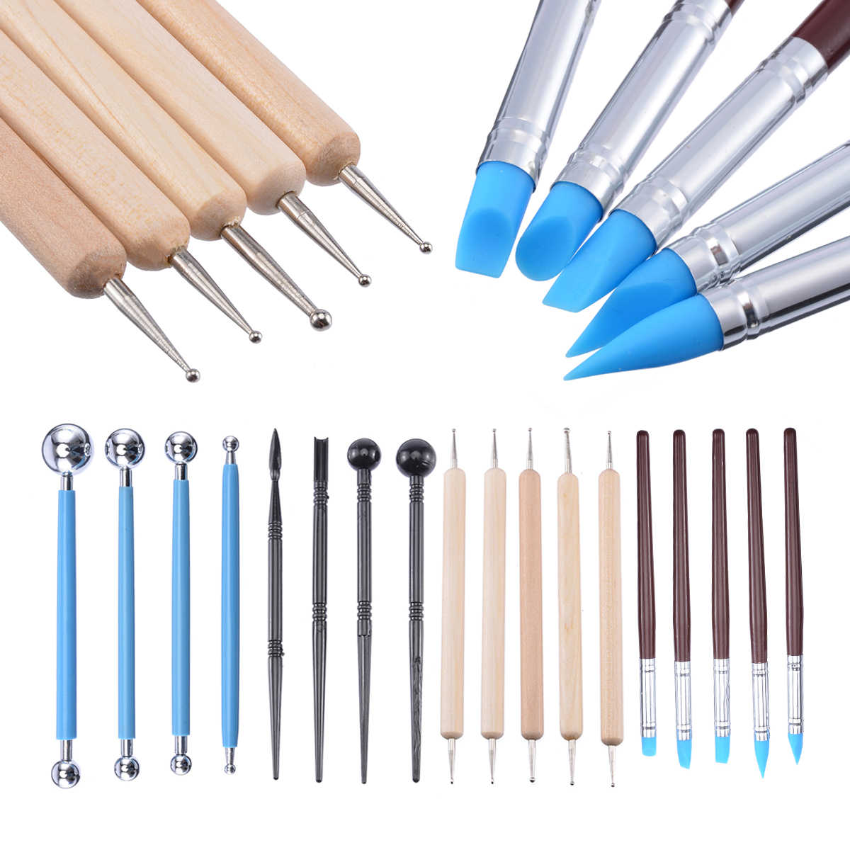 18PCS New Wooden Handle Clay Sculpting Carving Pottery Tools Kit Polymer Modeling Graver Craft DIY Sculpture Ceramics Tool