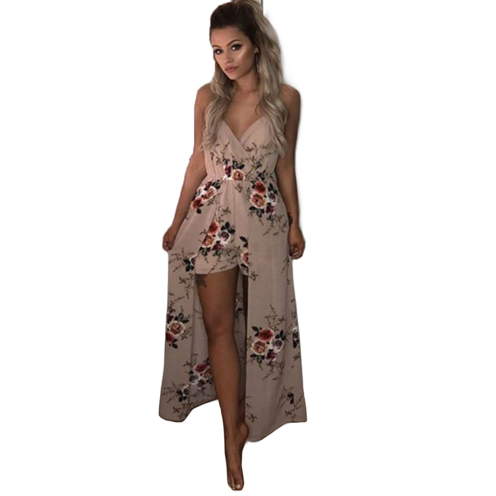 Women Maxi V-neck   Jumpsuit   Culottes Floral Evening Party Summer Elastic Waist Beach Shorts Spaghetti Strap