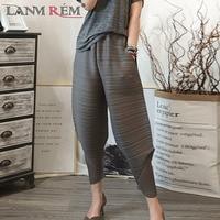LANMREM 2019 Spring spring New Pattern Elastic Waist Pleated Ankle Length Solid Color Loose Ladies Fashion Harem Pants BA696