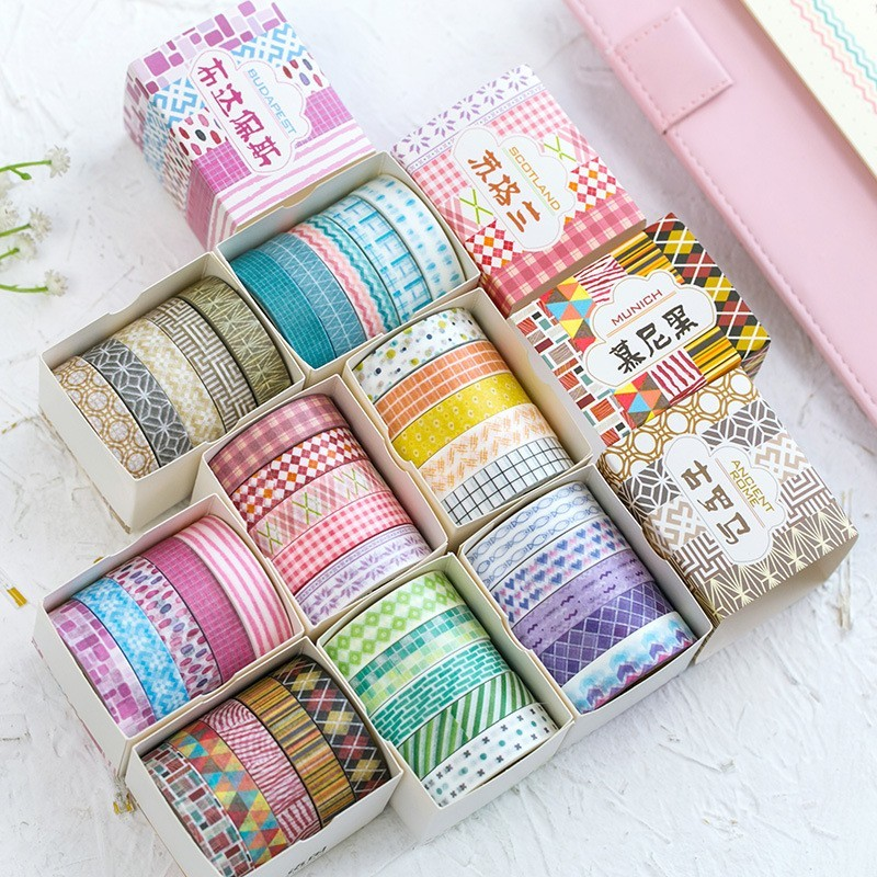 5PCS 10mm*5m Foil Kawaii Washi Tape Scrapbooking Masking Tape Set Stickers Diary DIY Decoration School Office Stationery 024034