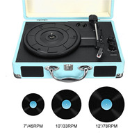 Vintage 100 240V 33/45/78 RPM bluetooth Portable Suitcase Turntable Vinyl LP Record Phone Player