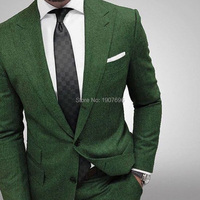 Slim Fit Men Suits for Evening Prom Party Two Piece Dark Green Man Suit Set Jacket Pants Fashion Style Wedding Tuxedos