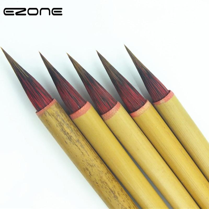 EZONE 1PC Writing Brush Bamboo Handel Wool Hair Hook Line Brushes For Chinese Handwriting Practice Calligraphy Students Supply