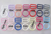все цены на NBNLAE 100pcs bra buckles (50pcs O Ring +50pcs 8 slider) colorful plastic buckle buttons underwear accessories онлайн