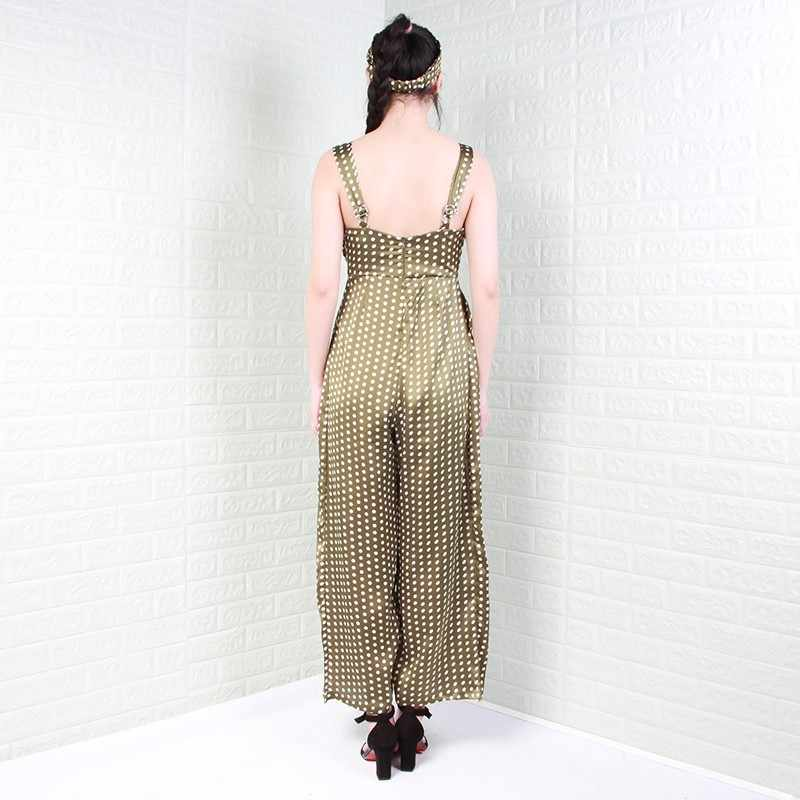 TWOTWINSTYLE сексуальный горошек женский комбинезон без рукавов выдалбливают высокой талией широкие брюки женские повседневные Модные 2019 лето