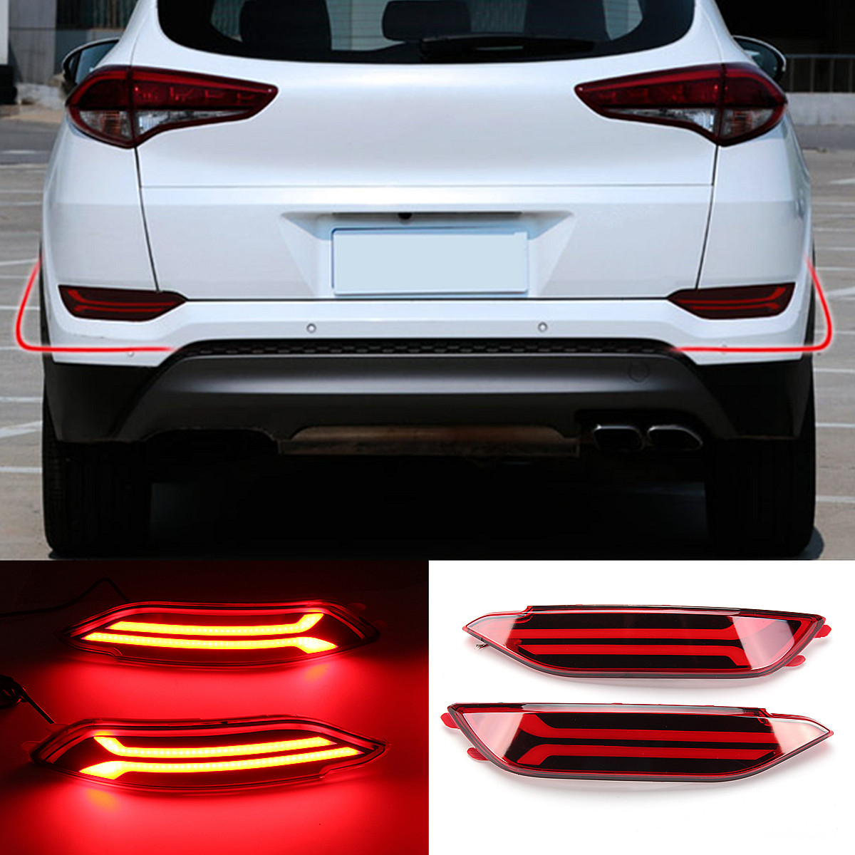 2Pcs for Hyundai Tucson LED Rear Bumper Reflector DRL Fog Driving Brake Lights High Temperature Resistant ABS+LED Lamp Beads2Pcs for Hyundai Tucson LED Rear Bumper Reflector DRL Fog Driving Brake Lights High Temperature Resistant ABS+LED Lamp Beads