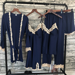 Image 3 - Lisacmvpnel Lace Sexy Pajamas 5 Pcs Cardigan+Nightdress+Pant Set Pyjama For Women