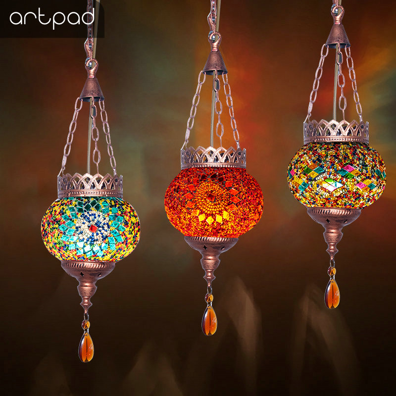 Artpad Creative Mediterranean Style LED Mosaic Pendant Lamp Retro Antique Bar Bohemia Hanging Lights for Hotel Dining Room