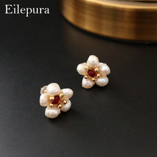 Eilepura Natural Fresh Water Baroque Pearl Flower 925 Sterling Silver Stud Earring For Women Party Gift  Fine Jewellery E-A007 oem a007