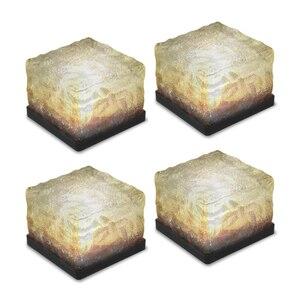 4Pcs Solar Deck Garden Lamp Light Sensor Glass Stone Ice Cube IP67 Water Resitant LED Night Lamp for Pathway Outdoor Decor(China)