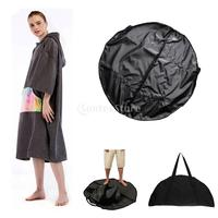 Microfiber Outdoor Adult Beach Quick Dry Changing Robe Bath Towel Hooded Poncho Surf Swimsuit Cloak + Wetsuit Change Mat / Bag