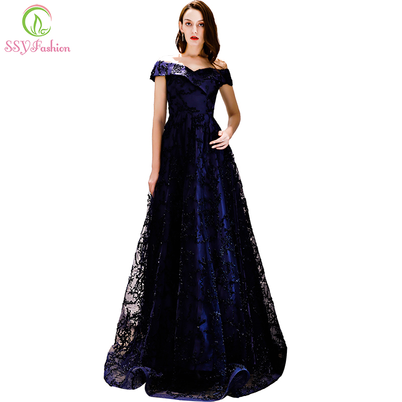 SSYFashion New Elegant Navy Blue Lace   Evening     Dress   Floor-length Simple Party Formal Gown Custom Made Robe De Soiree