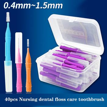 40 sztuk Push-Pull szczoteczka międzyzębowa higiena jamy ustnej wybielanie zębów wykałaczka ortodontyczna szczoteczka do zębów higiena jamy ustnej tanie i dobre opinie CN (pochodzenie) NB3010 40pcs box Dorosłych 1 box Interdental brush Dental floss stick-ABS-PTFE line Oral Hygiene Dental Toothpick Tooth