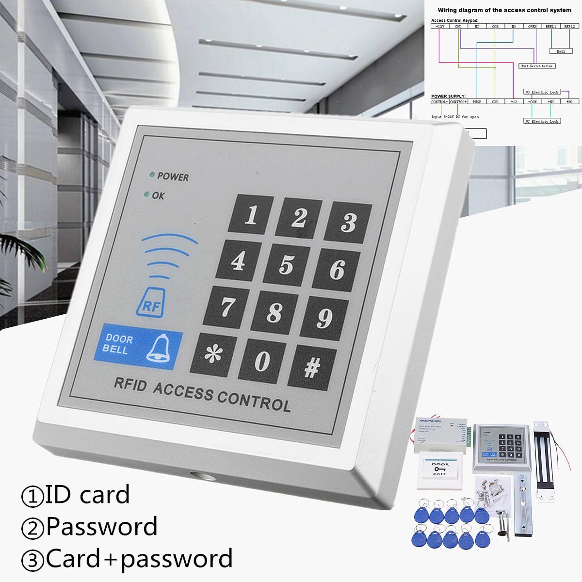 RFID biométrique d'empreintes digitales contrôle d'accès porte serrure système Kit lecteur de carte clavier + électrique magnétique/boulon/gâche serrure