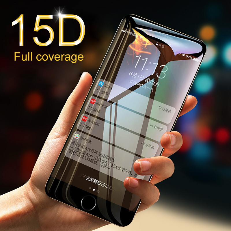 15D Curved Edge Protective Glass on the For iPhone 7 6 6S 8 Plus Tempered Screen Protector For iPhone X XS Max XR 7 6 Glass Film15D Curved Edge Protective Glass on the For iPhone 7 6 6S 8 Plus Tempered Screen Protector For iPhone X XS Max XR 7 6 Glass Film