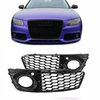 1Pair Fog Light Grills For 09 12 for Audi A4 B8 RS4 Style Honeycomb Mesh Fog Light Open Vent Grille intake in Racing Grills