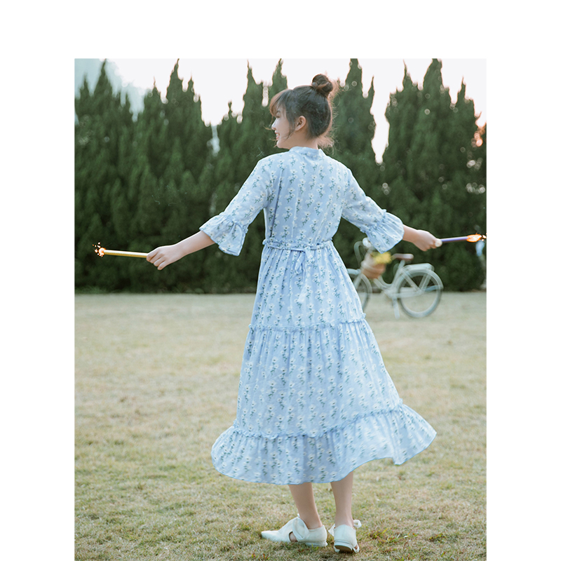 INMAN 2019 Summer New Arrival Pastoral Style Floral Flare Sleeve Slim Literary Women Dress