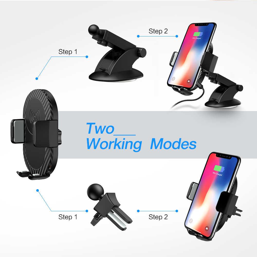 Caseier dengan QI Wireless Charger Mobil untuk iPhone X XR X Max 2 Di 1 Nirkabel Mobil Ponsel Pemegang Charger Cepat pengisian Portable Charger
