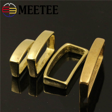 2pcs Meetee 20mm 25mm 32mm 40mm Pure Copper Belt Buckle Solid Brass Loop Fixed Ring Fitting DIY Leather Craft Hardware
