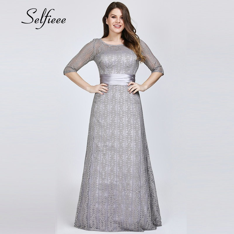 Elegant A Line Grey Lace Party Dress Women 2019 New Spring Elegant O Neck Half Sleeve Plus Size Dress Long Maxi Dress Robe Femme
