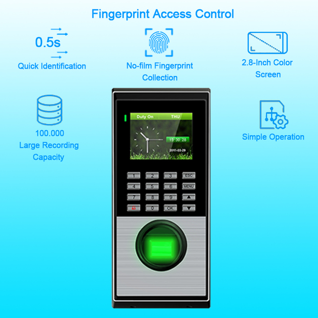 US $140 0 |Biometric Attendance System Fingerprint Access Control System  Security TCPIP Time Recorder Clock door Access Control System -in  Fingerprint