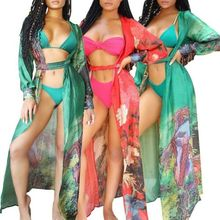 Women Summer Maxi Floral Kimono Cardigan Swimwear Beach Cover Up Robe Wrap Dress 2019 New Arrival