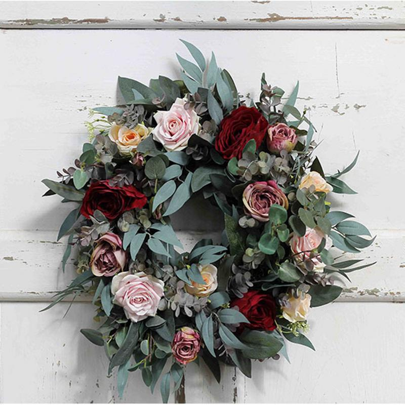 45CM Wreath Fake Flowers Simulated Dark Red Rose Garland Home Wedding Decoration Wreath Mother's Day Artificial Flowers