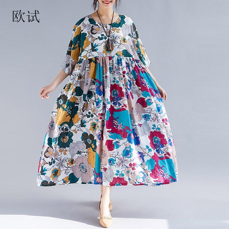 Plus Size Long Dresses Women Floral Print Patchwork Ethnic Summer Dress Casual Loose Cotton Dress New Arrival 2019 Ladies