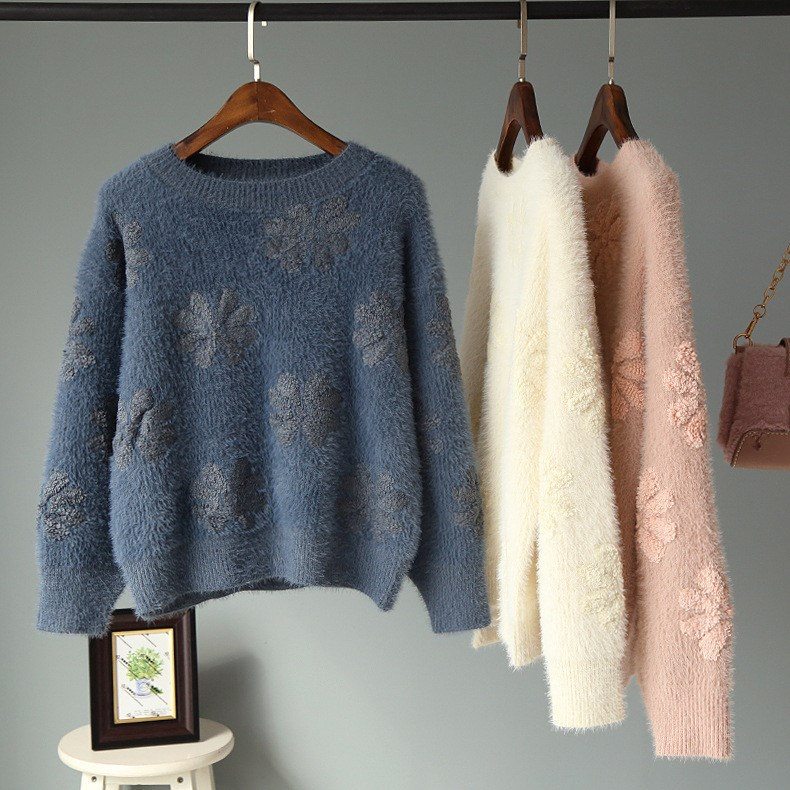 Women Spring Round Neck Crochet Mink Velvet Knitted Sweater New Korean Style Solid Long Sleeve Loose Pullovers Tops