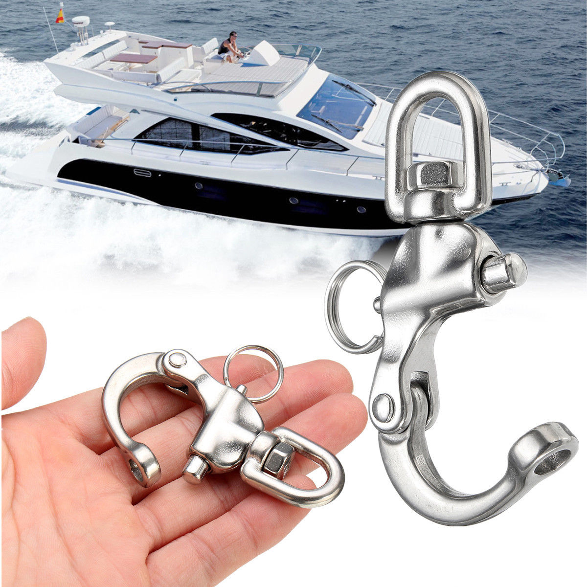 Stainless Steel Rotary Spring Hook Quick Release Boat Chain Eye Shackle Swivel Bracket Snap Hook Hardware Tool in Hooks from Home Improvement
