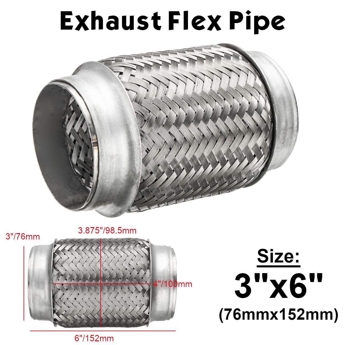 Stainless Steel Exhaust Flexible Pipe 50mm x 100mm Flexi Connector Flexipipe