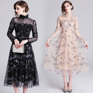 Image 3 - Banulin HIGH QUALITY Newest Stylish 2019 Runway Party Dress Womens Long Sleeve Star Sequined Embroidered Gauze Mesh Dress