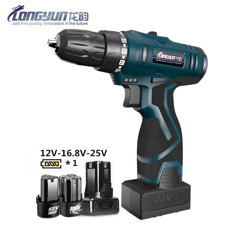 Longyun Rechargeable Lithium Battery Cordless Electric Drill Bit 12V 16.8V 25V Electric Screwdriver Torque Screw Gun Power Tools(China)
