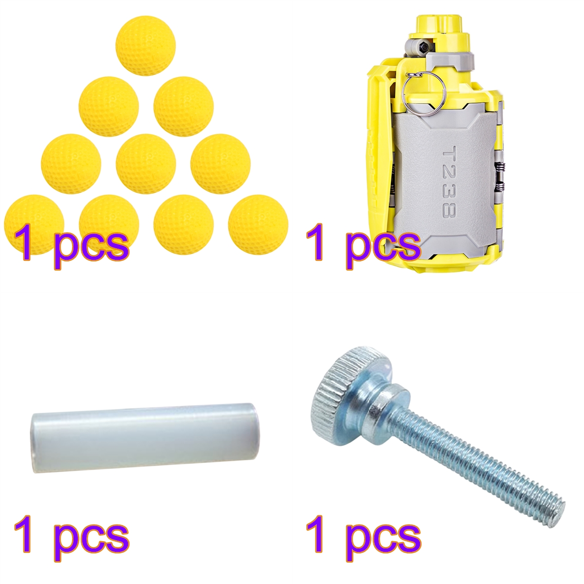 <font><b>T238</b></font> <font><b>V2</b></font> Large Capacity Water Bomb for Gel Ball BBs Airsoft Wargame with Hand Screw Standoff /Spacer Screw Nut /10pcs Soft Bullet image