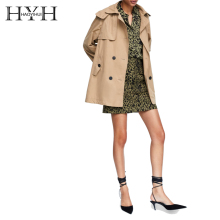 HYH HAOYIHUI Simple Lapel Coat Asymmetric Hem Side Slit Detachable Hooded Double-breasted Short Windbreake