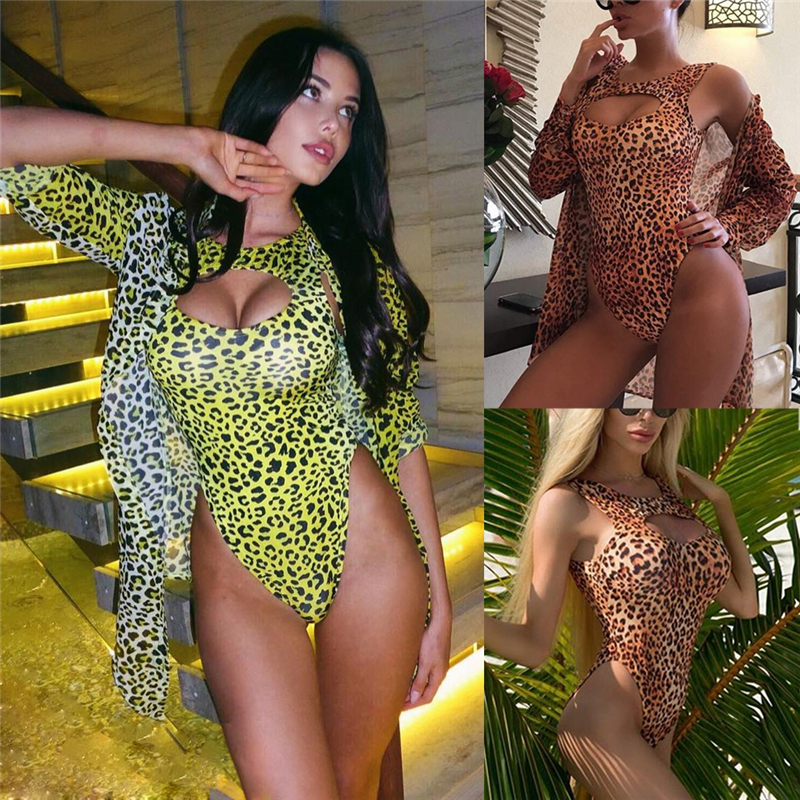 2019 Brand New Summer Women Leopard Swimming Padded Swimsuit Monokini Swimwear Bikini Push Up  + Cover Up 2pcs