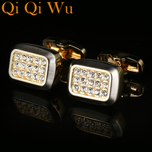 2017 French Luxury Jewelry New Shirt Cufflinks For Mens Gift Brand Cuff Buttons Crystal links High Quality Hot Sale RL-8039