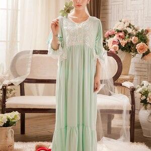 Image 3 - חדש כתנות הלילה ארוך שמלות נשים הלבשת גבירותיי ארוך כתונת לילה הלבשת אלגנטית קרסול אורך שמלת נסיכת L שמלת 3 צבע