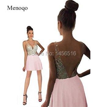Women's V Neck Mini Short Homecoming Dresses Backless Prom Party Dresses