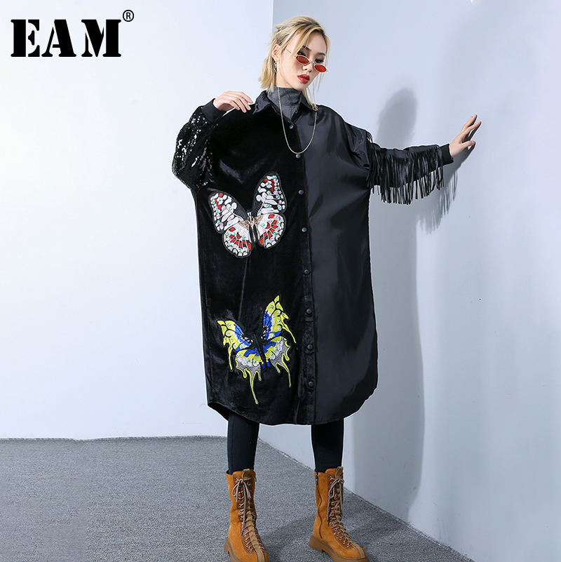 EAM 2019 New Spring Summer Lapel Long Sleeve Black Lace Embroidery Stitch Tassels Big Size