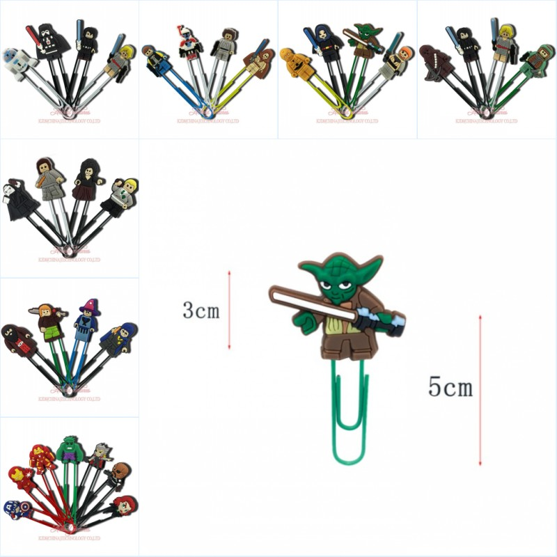 4pcs Cartoon Super Hero Action Figure Bookmarks Paper Clips Stationery School Stationery Office Page Holder Boys Party Gift