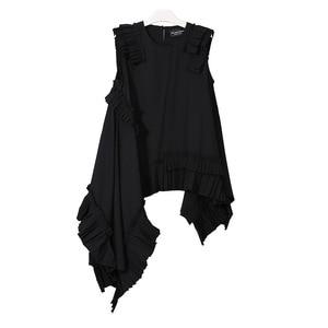 Image 5 - [EAM] 2020 חדש אביב קיץ עגול צוואר שרוולים שחור סדיר Hem קפלים Loose חולצה נשים חולצה אופנה גאות LLL324