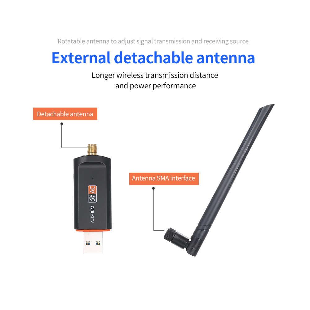 1200 M doble banda 5G 2,4G USB 3,0 Gigabit LAN inalámbrico tarjeta Wifi receptor 1200 Mbps para ordenador portátil, computadora de escritorio
